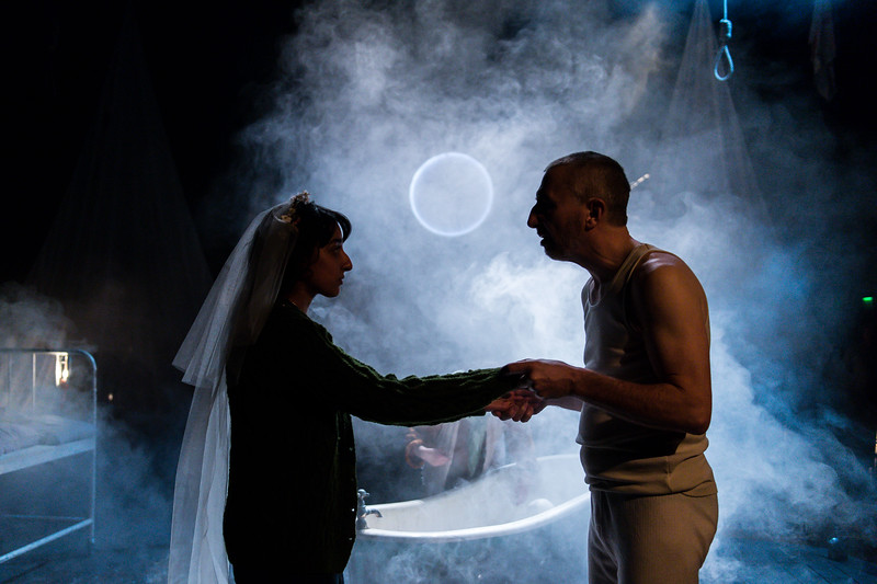 The Caucasian Chalk Circle at Unicorn Theatre,  Kiran Sonia Sawar and Christopher Wright  © Manuel Harlan