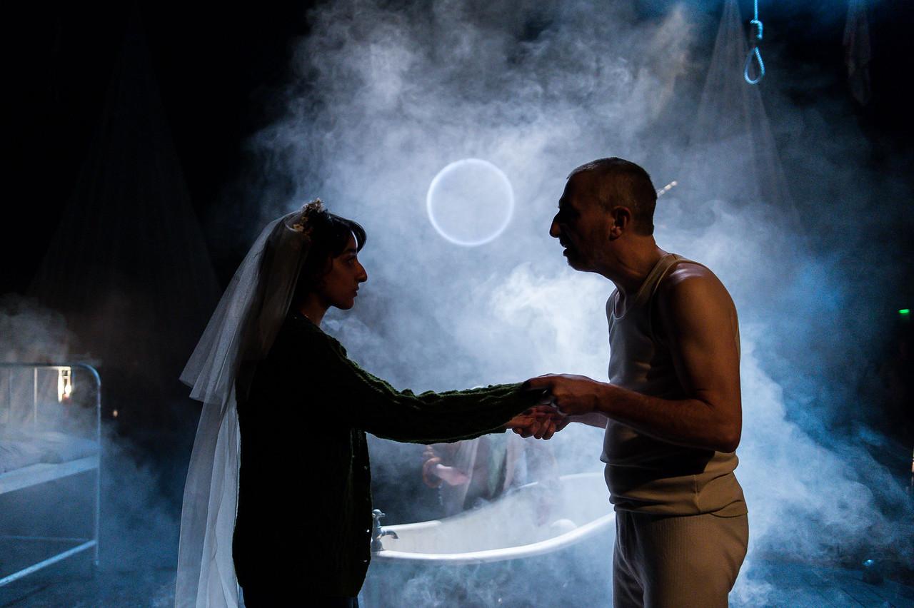 The Caucasian Chalk Circle at Unicorn Theatre,  Kiran Sonia Sawar and Christopher Wright  © Manuel Harlan