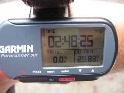 I started the day with a sub-goal of trying for a 100:10:1, which is 100 miles ridden in 10 hours, in one day.  That's total elapsed time, not just riding time, so bio breaks and food stops count against you.  Here at 30 mile mark...still optimistic to maintain that pace.