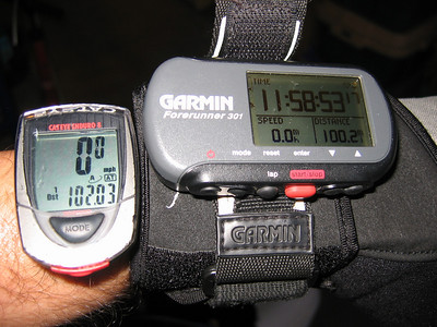 Tale of the Tape:  GPS (official record) says 100.2 miles in just under 11 hours 59 minutes. My cyclometer is more optimistic, trying to convince me I actually did 102 in the same amount of time.