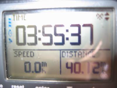 40 mile mark...losing some ground against the clock due to bio break.