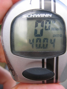 Tale 'o the tape.  Forty miles, 6 hours 4 minutes total time, 3 hours 54 minutes pedaling time, average speed 10.4 mph.