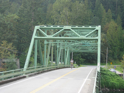 JC crossing the Snoqualmie River.  The towers from an older version of the bridge can be seen at lower left.