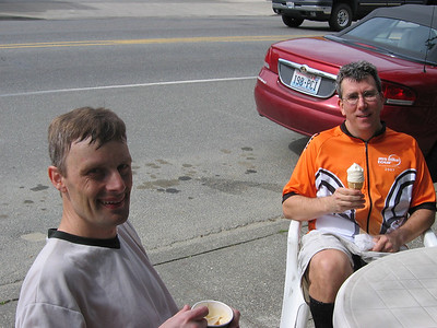 JC and TB in downtown Duvall.  The less-efficient TB struggles with his dripping, espresso-less soft serve cone.
