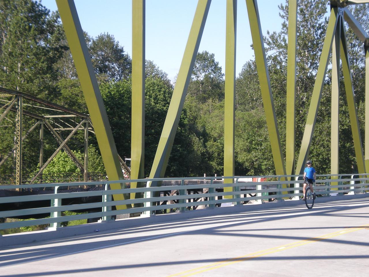 2008:  Miles on new bridge w/ Old Bridge behind.