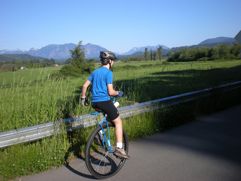 2008:  Miles, with Mount Si in the background. It was snowing up there just one week before this picture was taken.