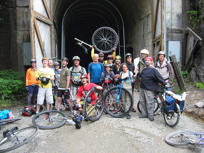 The usual group photo at the tunnel entrance, trying to act casual while a cold 40 degree wind whips out of the tunnel at our backs.  L to R: Gary, Danny, Tom B (me), Miles, Tom J, Steve DeKK, JC, Harper, Doc, Tyler, Adrian, Jenn, An'So, Travis, Ward, John S, Simon. Missing from photo (because he's taking this one), JeffSloan.
