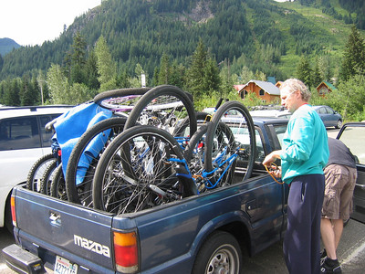 The annual Harper Truck full 'o unicycles and bikes. Some assembly required.