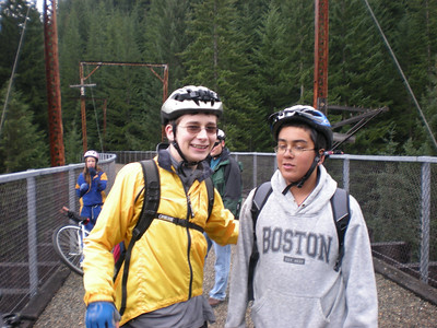 Miles and Brian. For both Miles and Maria (in blue behind Miles), this was their year to graduate from bicycles to 36-inch unis out on the Iron Horse Trail.  They both rode strong, with nary a complaint about the rain and cold.