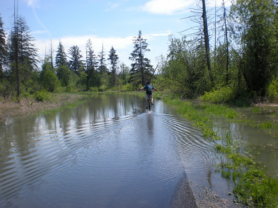 Me heading upstream on the road. This section was fairly rideable on the 36-er, but you had to go very slow to keep from sending a rooster tail of water up your back. Water was probably 6 too 8 inches deep here, although once around the bend ahead it got deeper.