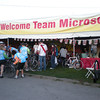 Team MSFT tent buzzing Saturday morning before the start of the ride.
