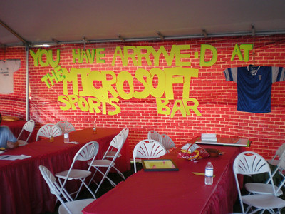 Sports Bar decor in the Microsoft tent. This was about 5pm on Friday, so most of the riders didn't arrive for another hour.