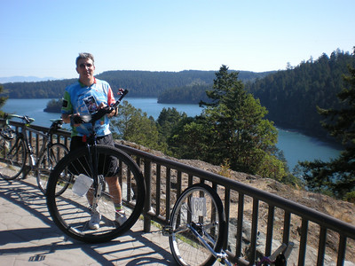 Me, on the island in the middle of Deception Pass Bridge.  Going over this bridge is the coolest part of the ride.