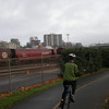 Waterfront trail, with Space Needle in background.