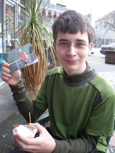 """Miles, enjoying his Birthday Gelato along with Flat George, who tragically is no longer able to ride a unicycle. But we're a tight group, and we """"ride for those that can't"""".  Soon we will be adding Flat Steve and Flat TomJ to our collection of riding partners."""