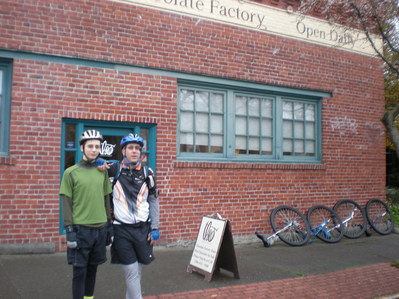Miles and Papa in front of the Theo Chocolate Factory in Fremont. Walk right in, and there are yummy samples of all sorts of high quality chocolates, just there for the sampling. Travis bought something, so he was our saving grace. I celebrated by walking back in the store for a couple last free samples.