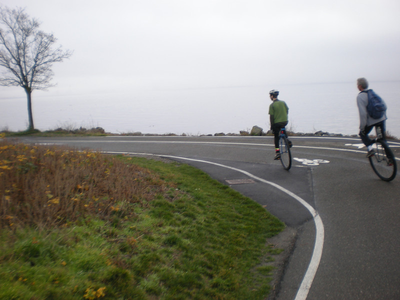 Miles and Harper banking into the turn along the harbor trail on the way into downtown Seattle. This is such a great ride.