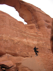 Irene idling below Skyline Arch, with a broken foot.