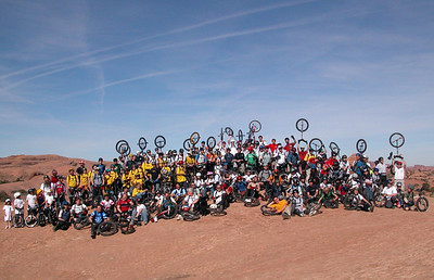 The Big Group Shot. Slickrock Trail where the main trail and practice loop diverge.