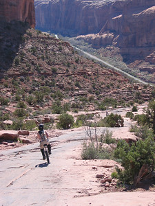 Descent from the Moab Rim Trail, w/ Colorado River in background.