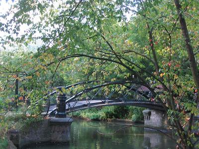 Bridge over canal into the botanical gardens.