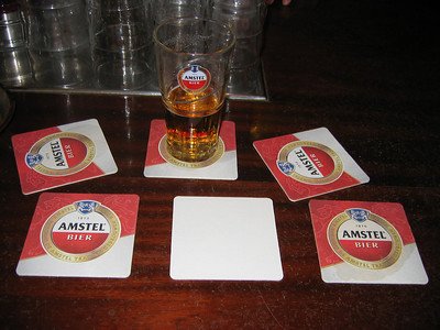 Visual ode to Amstel Beer. It is important to drink the beer as close as possible to the river it's named for.