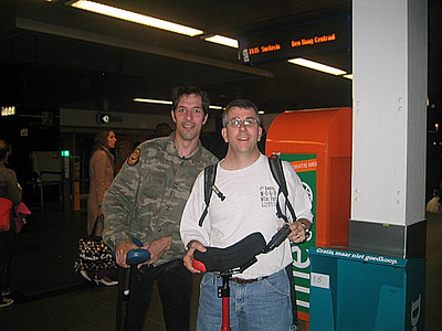 Leo and Tom in Central Station after a great evening of riding.  Photo by a passing traveler.