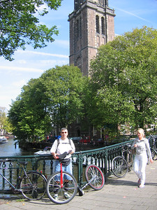 Me and nice Dutch girl, on the bridge in front of Wester-kerk.