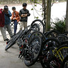 Big pile 'o unicycles and locals trying to decide which ones to test drive. Photo: G. Huntley