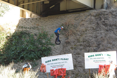 Kris Holm tackling the cement sandbags under the bridge. Like curved little steps; grippy but very steep!