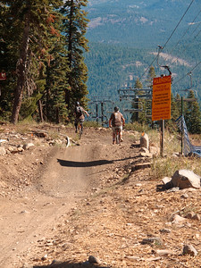 Joe Sowul and his dad head down the LiveWire trail, a high speed downhiller's freeway.