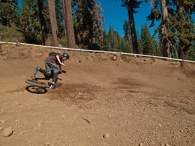 LiveWire's big banked turns were like riding on a velodrome. With insufficient speed you drift to the lower parts, which are all lose gravel & rocks!