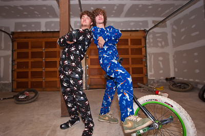 Jarin Erikson and Spencer Hochberg, chillin' in the cabin garage late after a long day at Downieville. Nice duds!