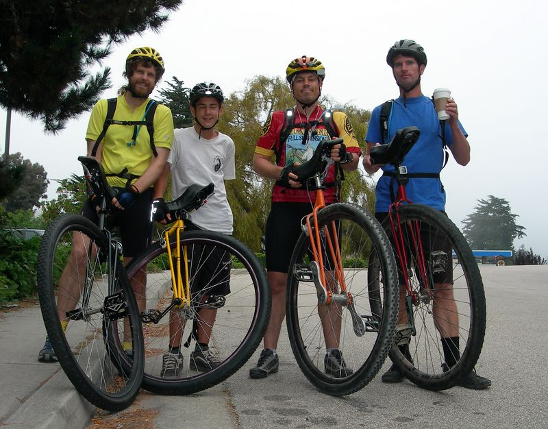 Aptos California at 8:45am. Nathan, Beau, Bronson and Rob ready to ride. Well, Beau is sort of ready. Maybe he needs some of what Rob has?