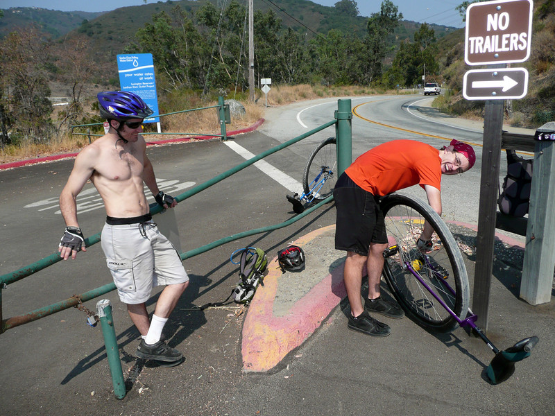 After climbing up Lexington Dam, AJ decides to tighten his bearing holders. But the tool is back at home. No problem, we have the technology...