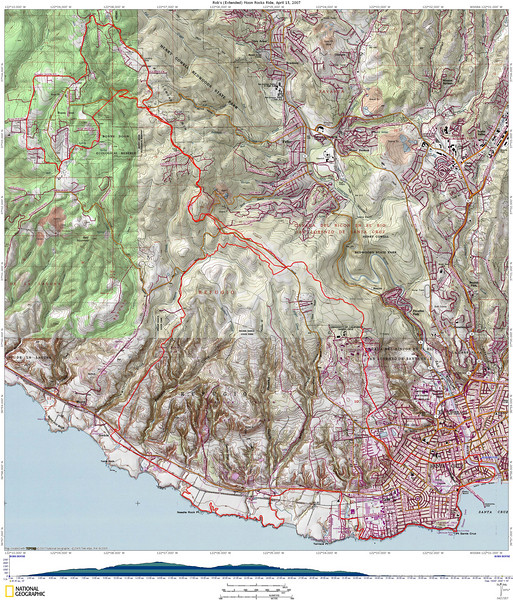 Topo map showing the ride and elevation profile (Best viewed in Original size - 5.8MB) You can see where I forgot to turn the GPS back on for a bit over a mile. Also, reception under the trees is not all that great, so the GPS underestimates distance and overestimates elevation change.