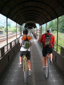 A rare treat, riding the length of a train. There is no road over the mountain here, just a train tunnel for cars and unicycles.