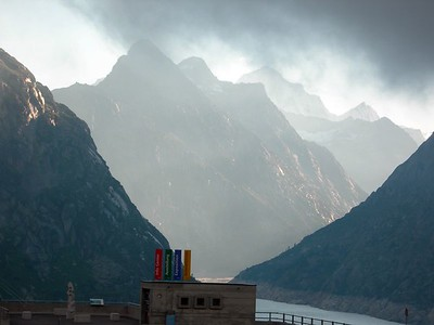 View out the window from dinner at the Hotel Grimsel Hospiz.