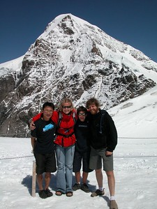 At the Jungfraujoch (3454m), with the Monch behind.