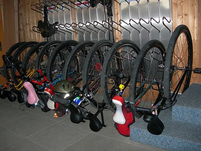 How our unicycles spent the night in Lech - in ski racks.