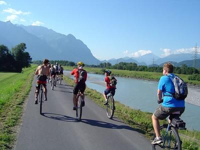 [KL] Unicycle path along the Rhine River in Liechtenstein.