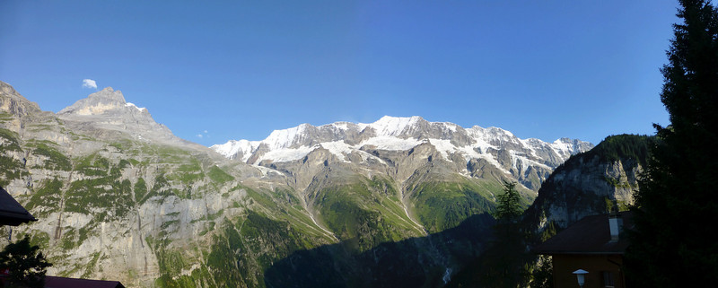 Panorama from 2 shots from Gimmelwald, August 1, 2012