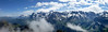 Panorama from the summit of the Schilthorn from 3 photos, Eiger/Monch/Jungfrau left of center.