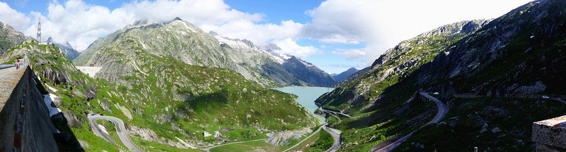 View down the Grimsel valley, from the Grimsel Hospiz turnoff.<br /> Panorama from 3 shots