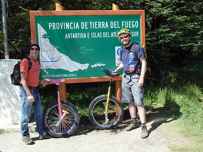 We took a minibus 26km from Ushuaia to this sign. It says, 'You are here at the end of route 3'. Now all we have to do is ride back. 2011-01-14 12:18:58 by Nathan Hoover