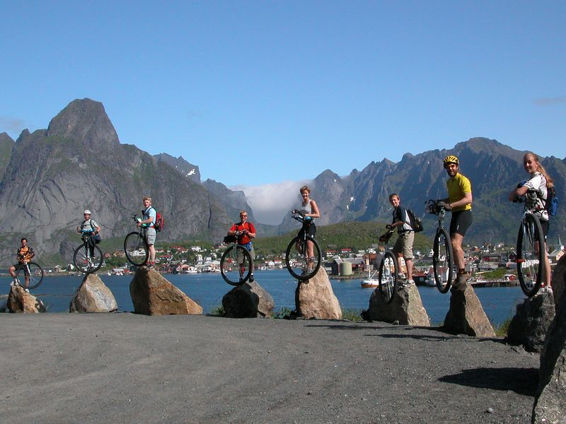 A stellar day, June 28, 2003, near the end of the tour. In the Lofoten Islands, that's John Stone, Elijah Parker, Aaron Svec, Andy Cotter, Irene Genelin, Ryan Woessner, Nathan Hoover and Tanya Marsh. Not pictured: Scot Cooper, Karen Woessner, and queen of Support, Connie Cotter.