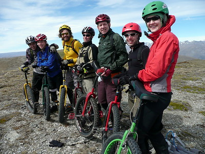 Beau, Scott, Nathan, Corbin, John, Andy, and Irene - the group that rode unis down the Roaring Meg