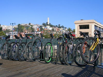 Parked at a pier for a group photo. Coit Tower in the background