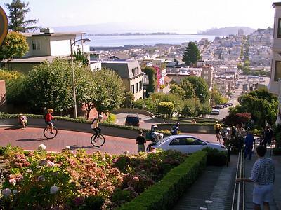 Riding down Lombard Street