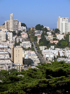 The famous, twisty Lombard Street from Coit Tower